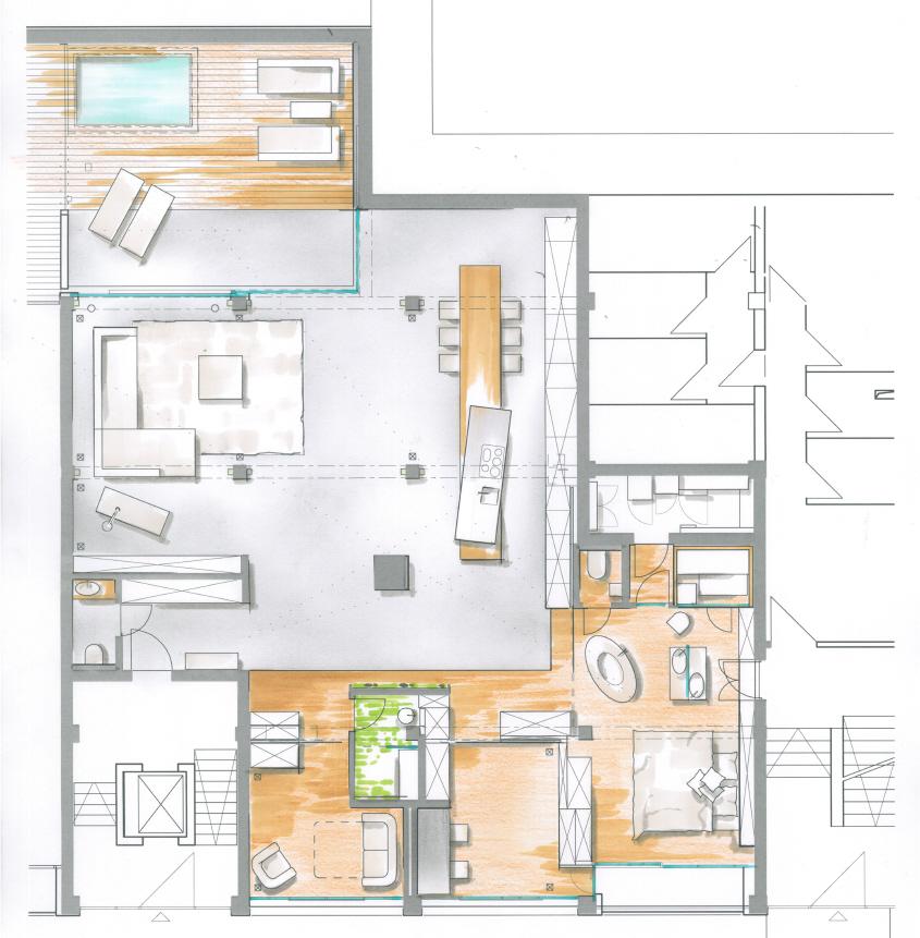 Architektur Innenraumskizze, individuelle Planung, Wohnraumnutzung, Zwinz
