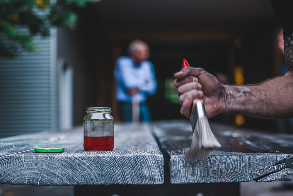 Eiche Tischbohle, Behandlung mit Öl, Handarbeit, Zwinz