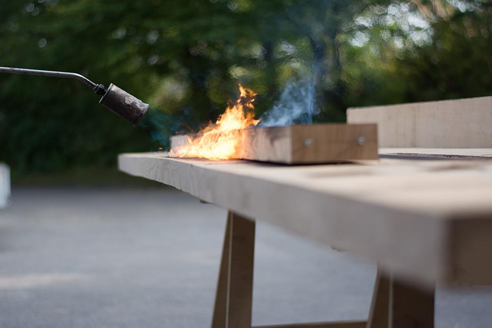 Eiche Tischbohle, Feuerbehandlung, echte Handarbeit, Zwinz