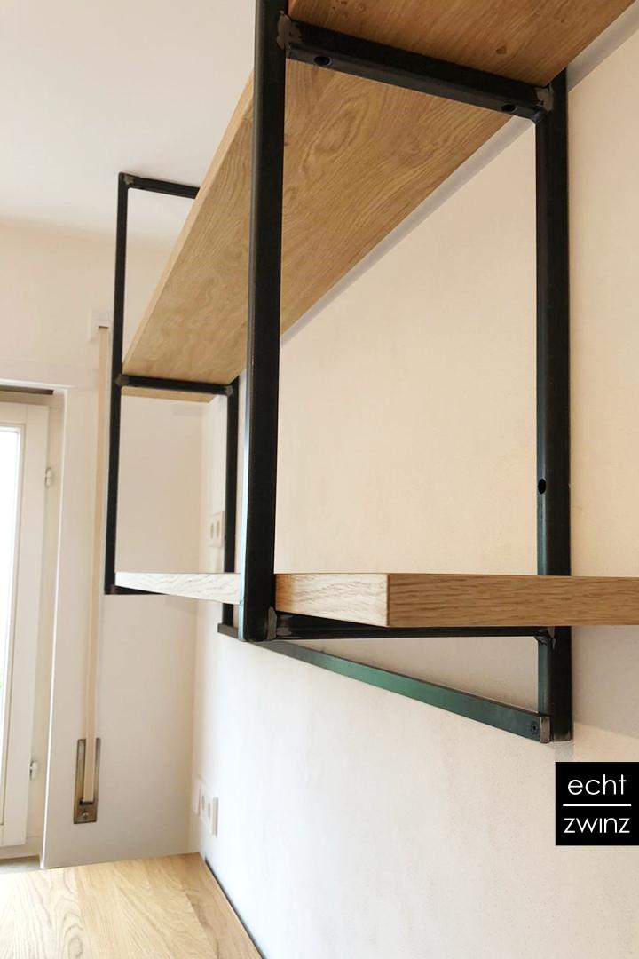 """Einbauküche: geometrisches Regal """"Stahl mit Eiche"""""""